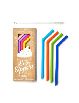 Two's Company Set of 4 Reusable Silicone  Straws