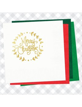 Natalie Chang Merry Christmas Wreath Cocktail Napkin