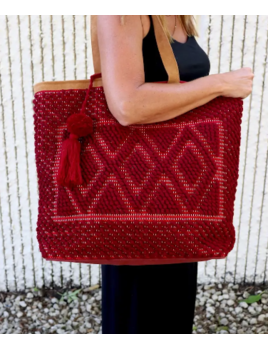 Panache Accessories Boho Woven Tote - Red