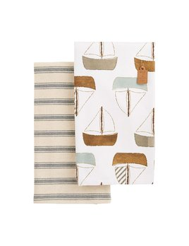 Mudpie Sea Towel Set - Sailboat