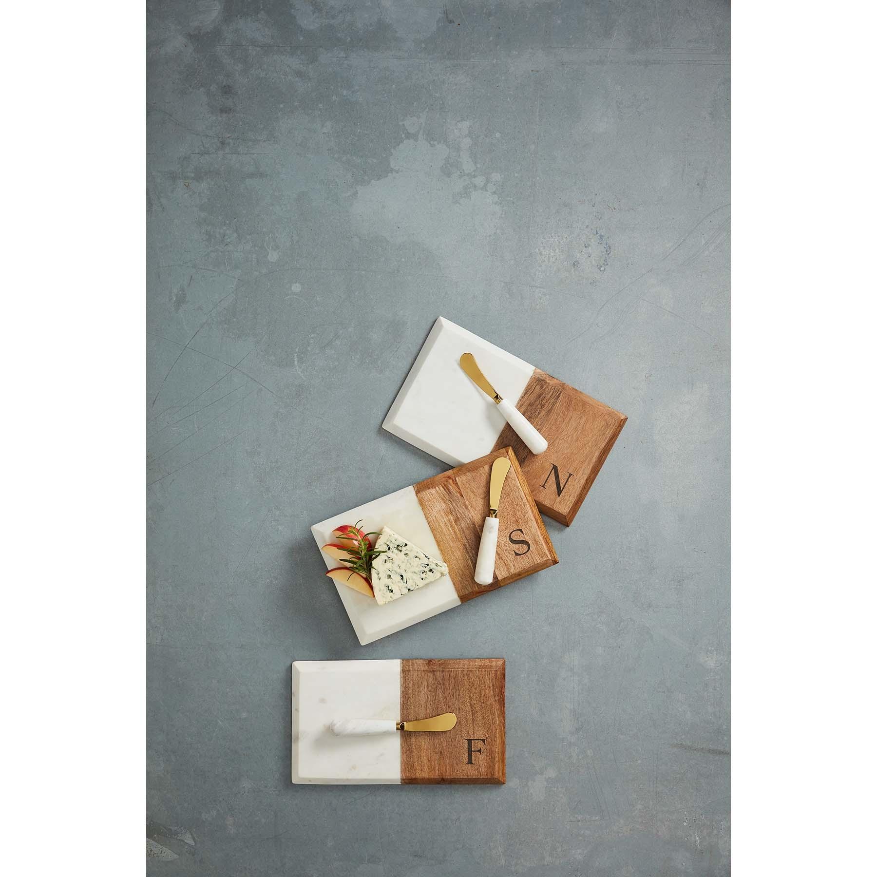 Mudpie Initial Marble & Wood Set
