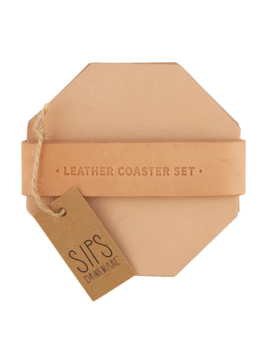Creative Brands Leather Coaster Set - Tan 4 Pack