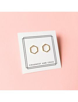 Chauncey and Coco Gold Hexagon Outline Stud Earring