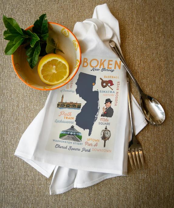 Lantern Press Towel - Hoboken, NJ - Typography & Icons