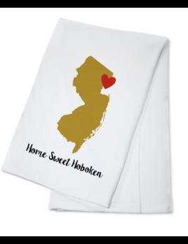 Lantern Press Towel - Home Sweet Hoboken - Hoboken State Outline & Heart (Gold & Red)