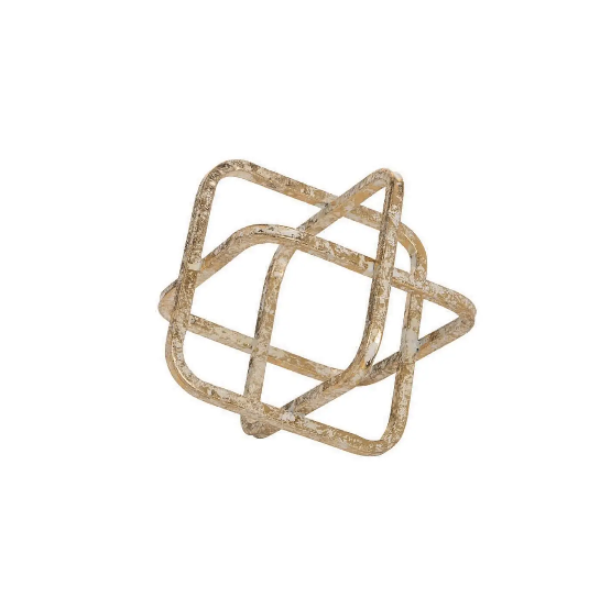Foreside Small Metal Cube Sculpture