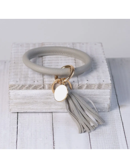 Lauren Lane Lauren Lane Halo Tassel Bracelet Key Chain Grey
