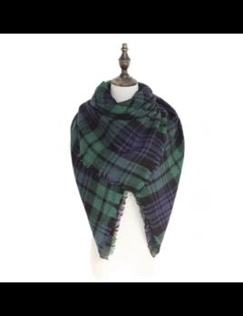 Lauren Lane Full Size Blanket Scarf - Navy Hunter Plaid
