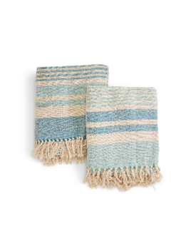 Two's Company Striped Throw w/ Fringe