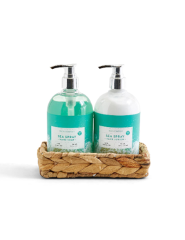 Two's Company Just Beachy Hand Soap & Lotion in Reed Tray