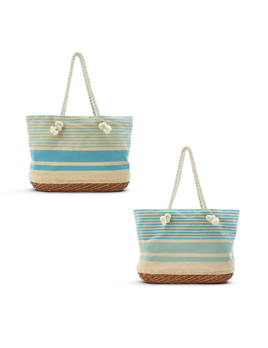 Two's Company Ropes & Stripes Tote Bag w/ Basket Bottom