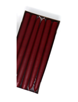 "Mole Hollow Candles 10"" Burgundy Red Taper Candle Pair"