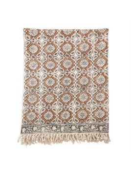 Bloomingville Cotton Printed Throw w/ Fringe - Multi Color