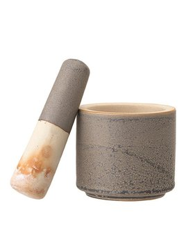 Bloomingville Stoneware Mortar & Pestle Reactive Glaze - Matte Grey