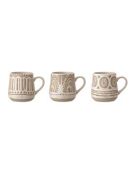 Bloomingville 12oz Stoneware Mug w/ Hand Painted Underglaze - Beige