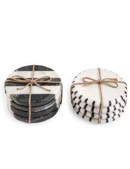 Mudpie Black White Marble Coasters