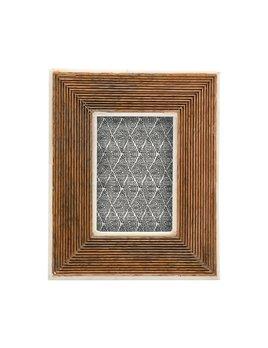 Creative Co-op Hand - Carved Mango Wood Photo Frame w/ Bone Border & Ribbed Pattern Natural