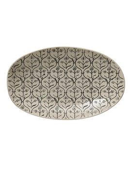 Creative Co-op Hand - Stamped Stoneware Serving Bowl w/ Embossed Pattern - Black & Cream
