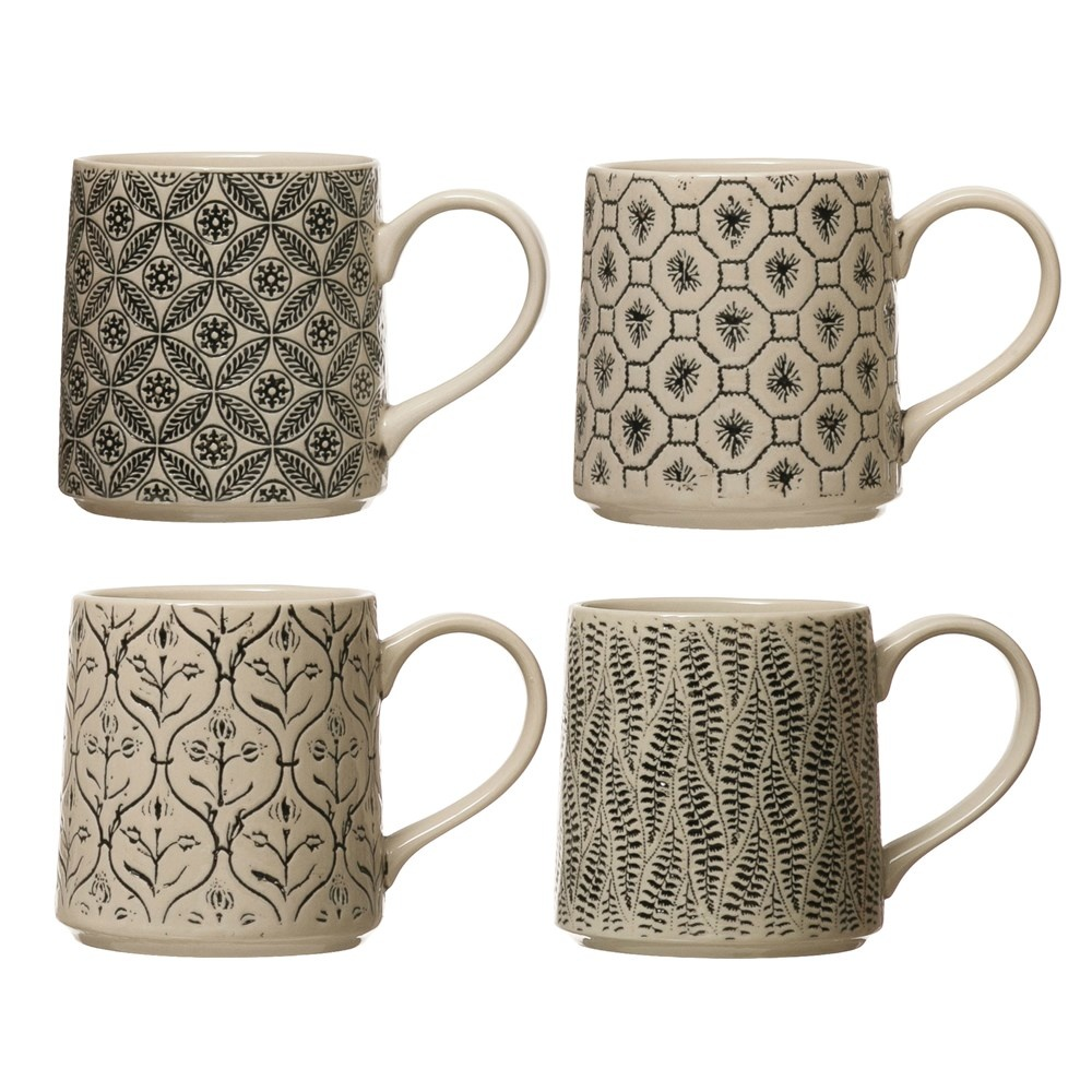 Creative Co-op 16 oz Hand - Stamped Stoneware Mug w/ Embossed Pattern Black & Cream