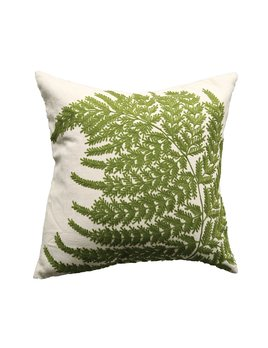 """Creative Co-op 20"""" Square Cotton Pillow w/ Fern Fronds Embroidery"""