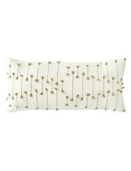 Creative Co-op Hand Woven Cotton Blend Lumbar Pillow w/ Woven Tassels - Natural & Green