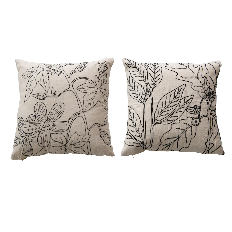Creative Co-op Pillow w/ Botanical Embroidery & Gold Zipper, Natural Black