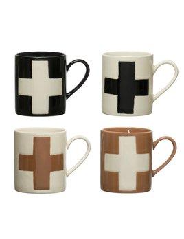 Creative Co-op 8 oz Handmade Stoneware Mug w/ Wax Relief Swiss Cross