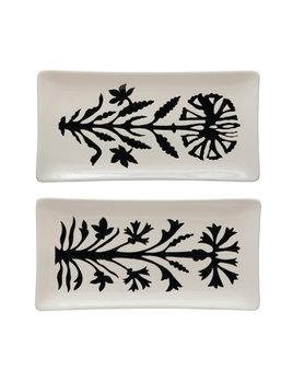 Creative Co-op Stoneware Platter w/ Flower, White & Black