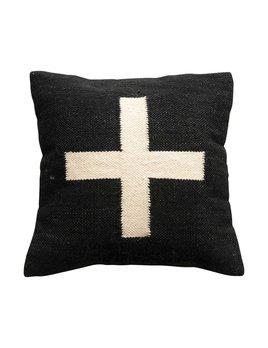"Creative Co-op 20"" Square Wool Blend Pillow w/ Swiss Cross - Black & Cream"