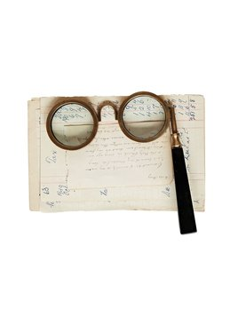 Creative Co-op Brass & Resin Spectacle Magnifying Glass