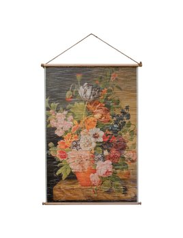 Creative Co-op Printed Bamboo Scroll Wall w/ Vintage Reproduction Florals Image