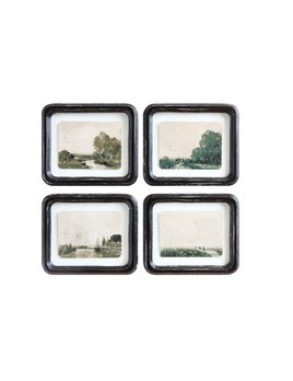 Creative Co-op Wood Framed Wall Decor w/ Floating Antiqued Landscape Distressed Finish