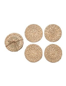 """Creative Co-op 4"""" Round Hand-Woven Seagrass Coasters - Natural - Set of 4"""