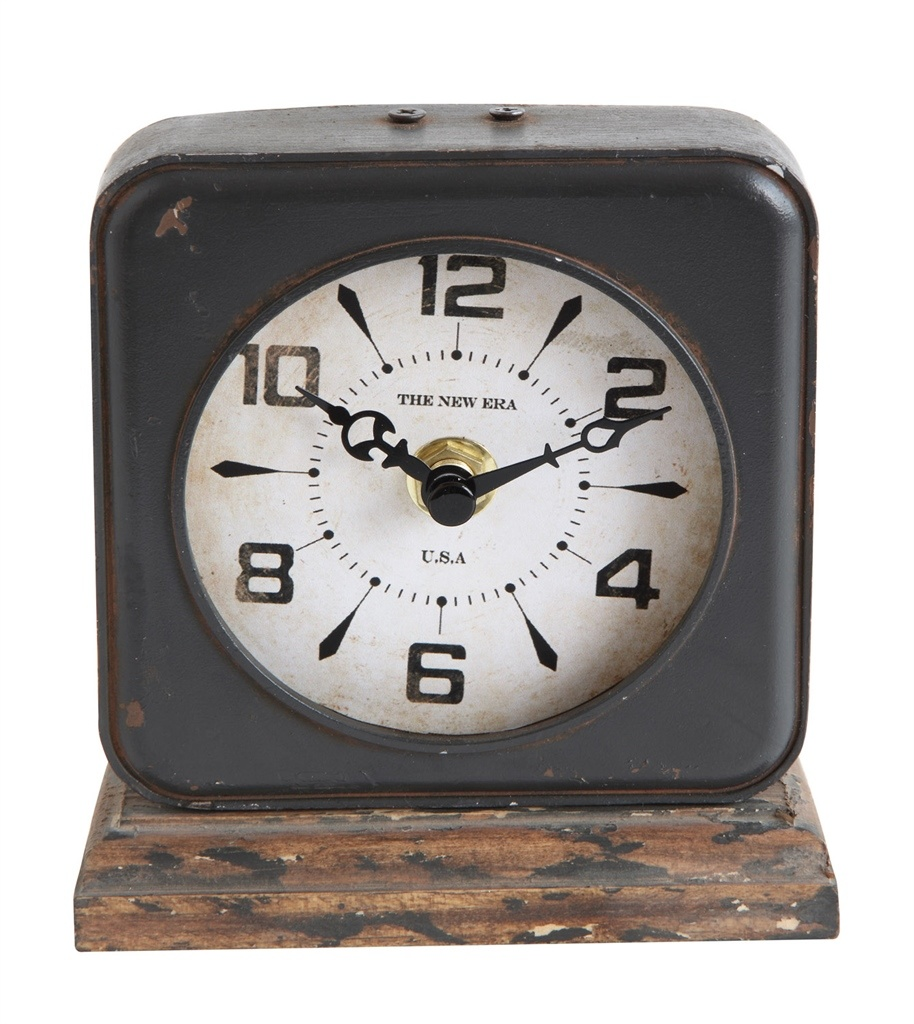 Creative Co-op Pewter Clock w/ Distressed Ivory Face