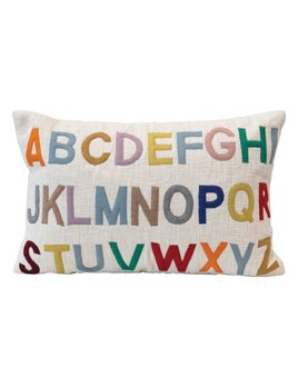 Creative Co-op Lumbar Pillow / Embroidered Alphabet - Multi Colored