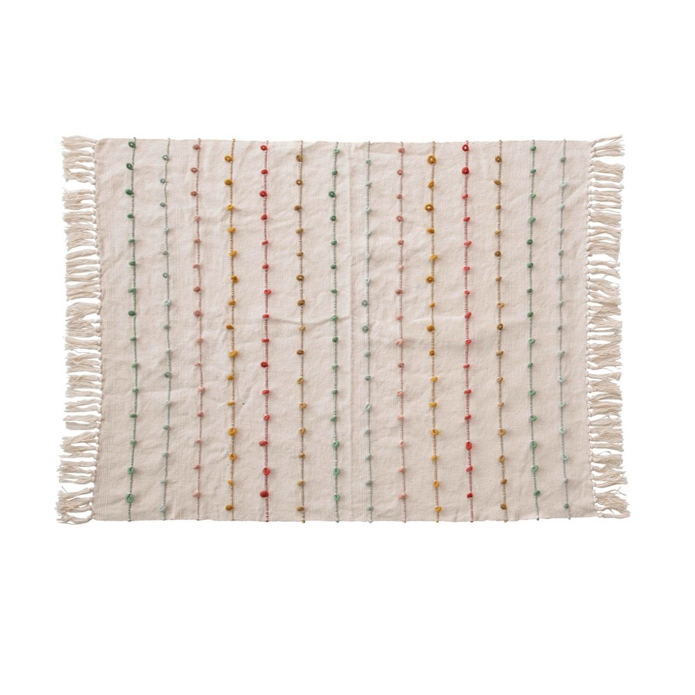 """Creative Co-op 40""""L x 32""""W Cotton Knit Blanket w/ Multi Color - Embroidery Loop"""