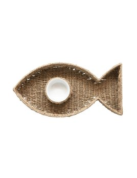Creative Co-op Woven Seagrass Fish Shaped Chip & Dip