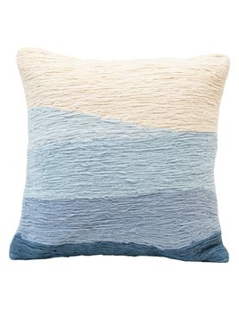 "Creative Co-op 18"" Square Cotton Appliqued Pillow w/ Wave - Blue Ombre"