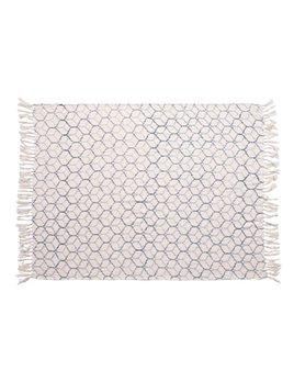 Creative Co-op Stonewashed Cotton Blend Throw w/ Ogee Pattern & Tassels - Blue & Cream