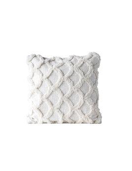 """Creative Co-op 18"""" Square Cotton Chenille Scalloped Pillow - White"""