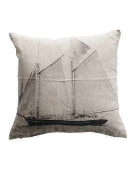 "Creative Co-op 20"" Square Linen Printed Pillow w/ Sailboat"
