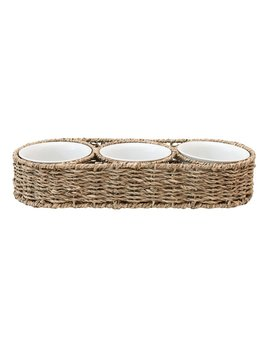 Creative Co-op Hand - Woven Seagrass Basket w/ 3. 6oz Ceramic Bowls