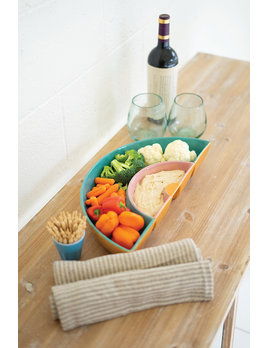 Kalalou Ceramic Rainbow Chip & Dip Tray