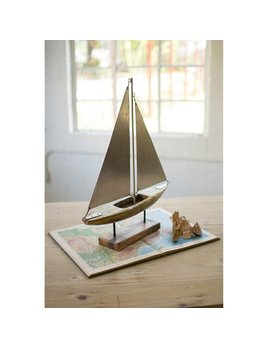 Kalalou Wood & Iron Sailboat on Stand