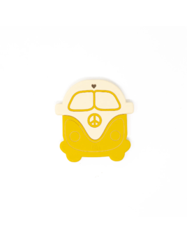 Three Hearts Modern Teething Accessories Silicone Teether - Peace Vintage Bus Mustard