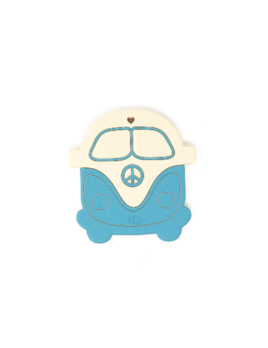 Three Hearts Modern Teething Accessories Silicone Teether - Peace Vintage Bus Aquamarine