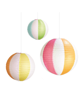 Two's Company Beach Ball Pattern Decorative Lanterns