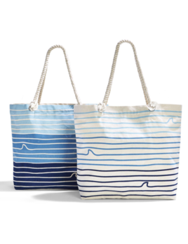Two's Company Great White Tote Bag w/ Inside Pocket & Rope Handles