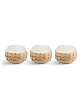 Two's Company Set of 3 Frosted Can Weave Candle
