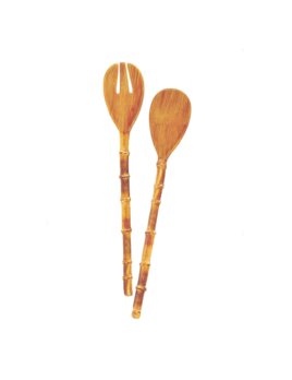 Two's Company Bamboo Melamine Accent Salad Servers
